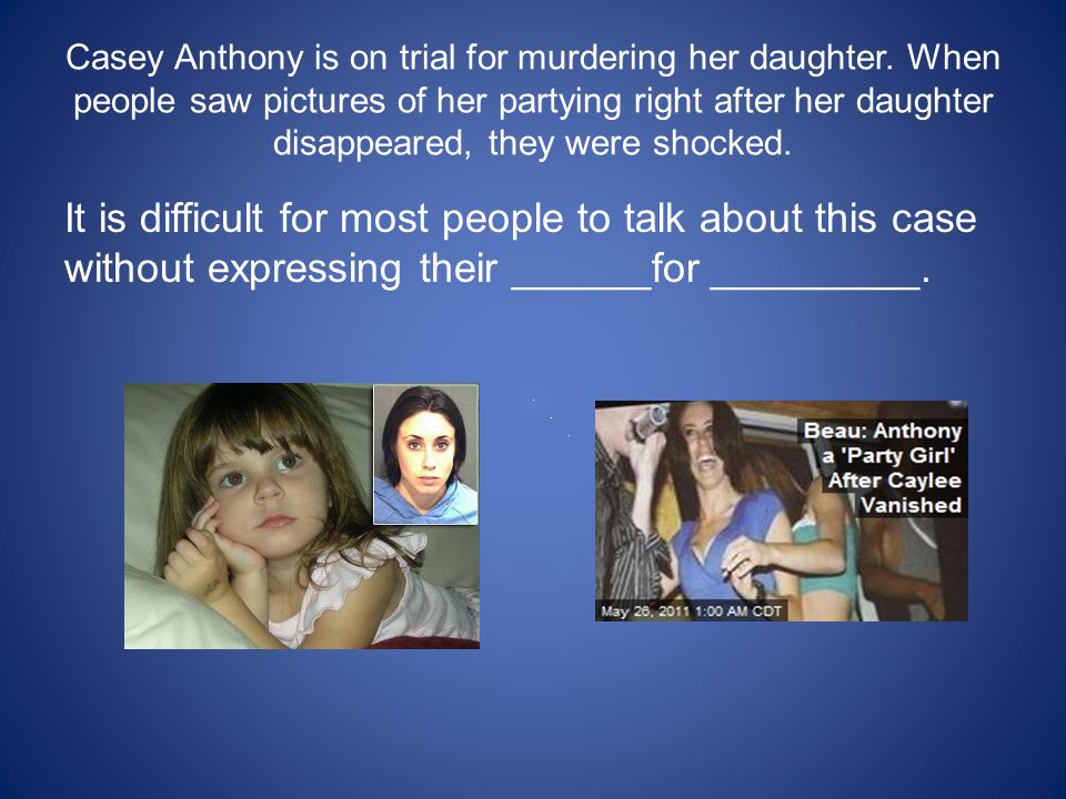Casey Anthony is on trial for murdering her daughter.