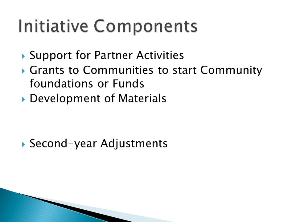  Support for Partner Activities  Grants to Communities to start Community foundations or Funds  Development of Materials  Second-year Adjustments