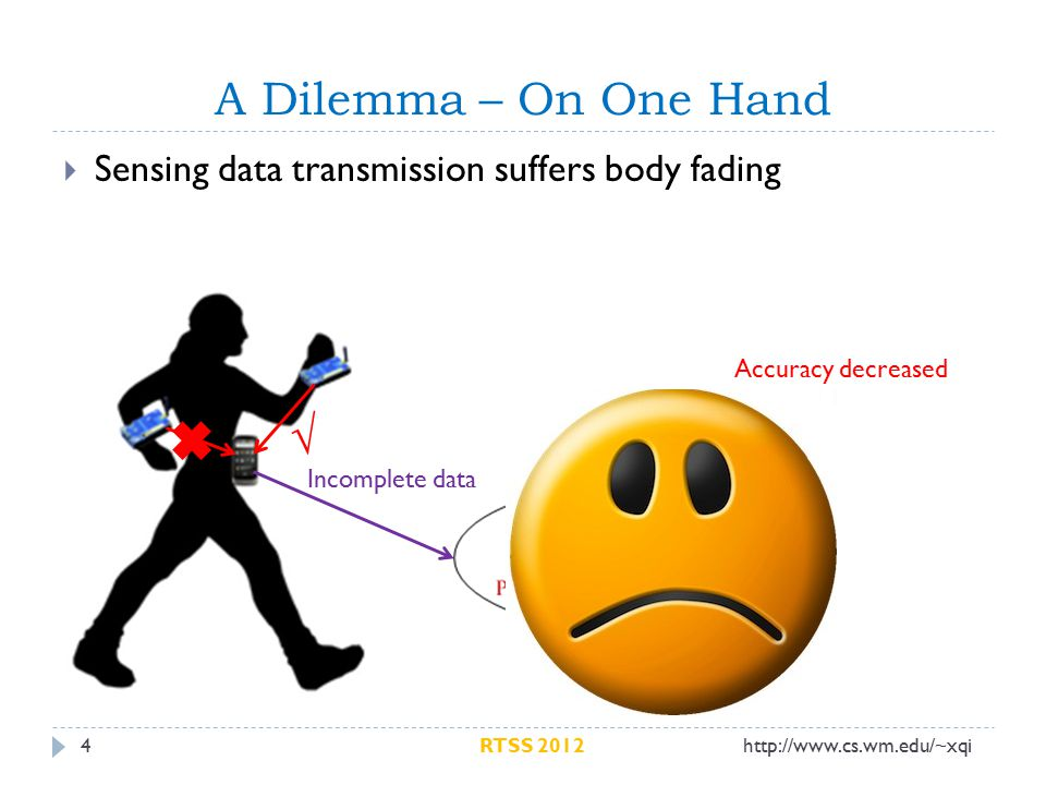 A Dilemma – On One Hand 4  Sensing data transmission suffers body fading √ Incomplete data Accuracy decreased http://www.cs.wm.edu/~xqiRTSS 2012