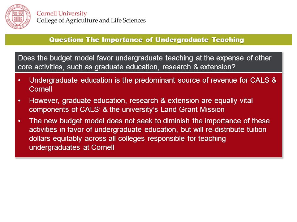 Question: The Importance of Undergraduate Teaching