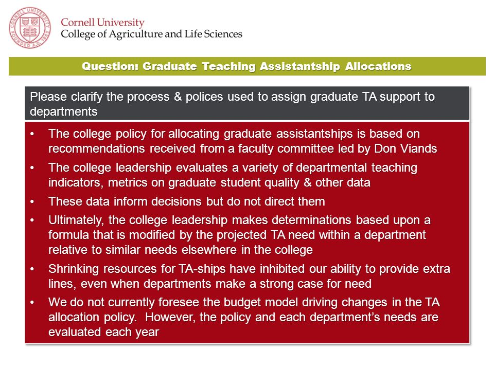 Question: Graduate Teaching Assistantship Allocations