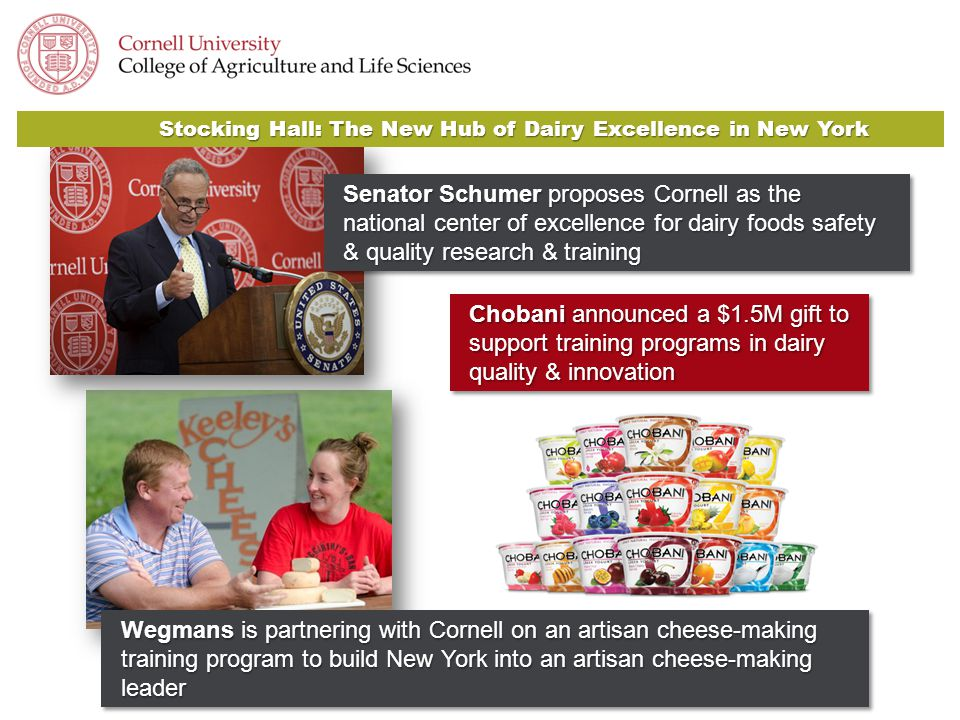 Chobani announced a $1.5M gift to support training programs in dairy quality & innovation Stocking Hall: The New Hub of Dairy Excellence in New York Senator Schumer proposes Cornell as the national center of excellence for dairy foods safety & quality research & training Wegmans is partnering with Cornell on an artisan cheese-making training program to build New York into an artisan cheese-making leader