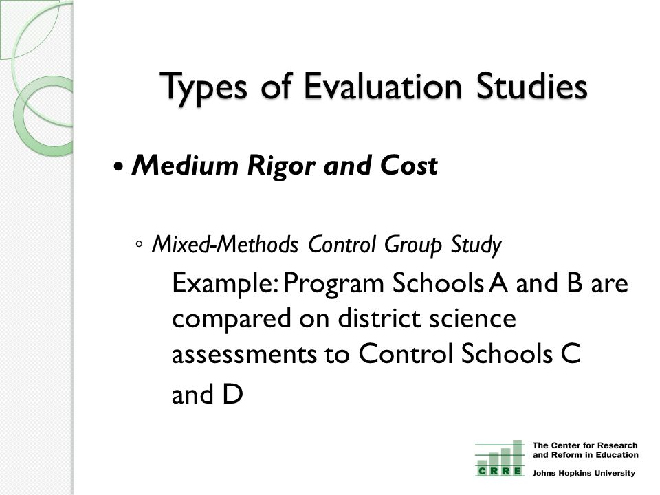 Types of Evaluation Studies Medium Rigor and Cost ◦ Mixed-Methods Control Group Study Example: Program Schools A and B are compared on district scienc