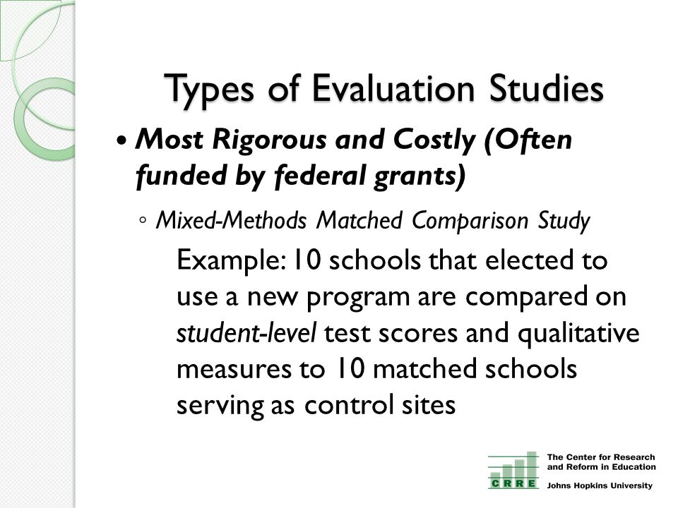 Types of Evaluation Studies Most Rigorous and Costly (Often funded by federal grants) ◦ Mixed-Methods Matched Comparison Study Example: 10 schools that elected to use a new program are compared on student-level test scores and qualitative measures to 10 matched schools serving as control sites