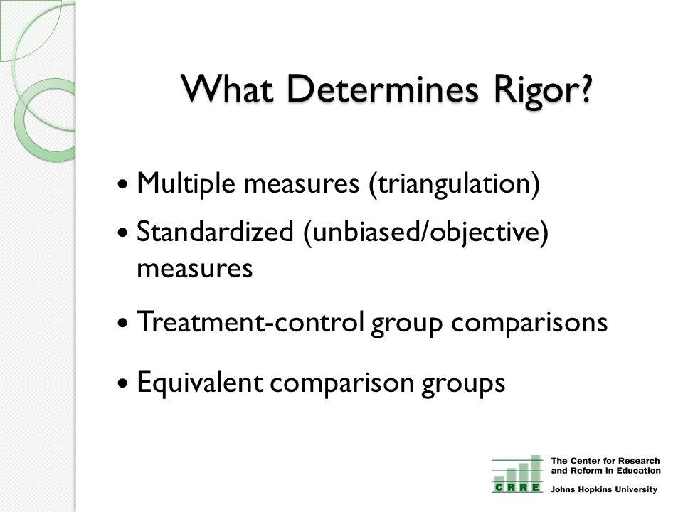 What Determines Rigor? Multiple measures (triangulation) Standardized (unbiased/objective) measures Treatment-control group comparisons Equivalent com