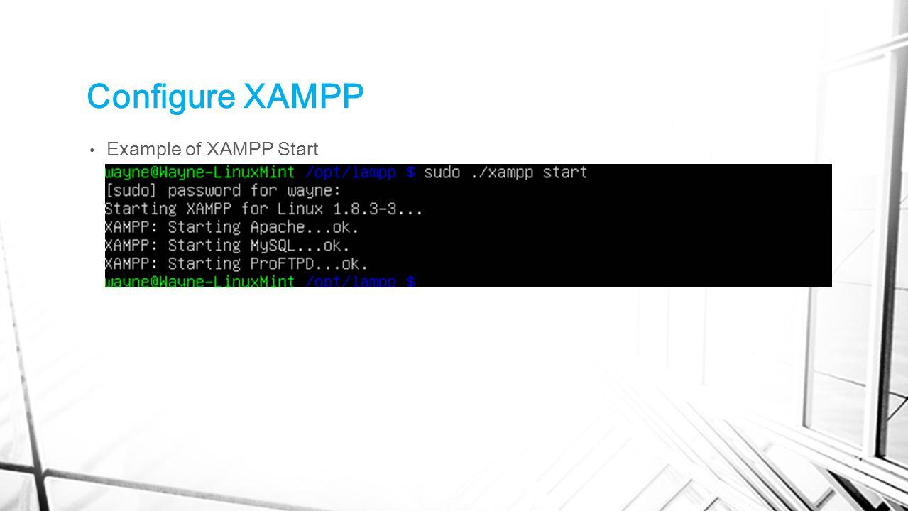Configure XAMPP Example of XAMPP Start