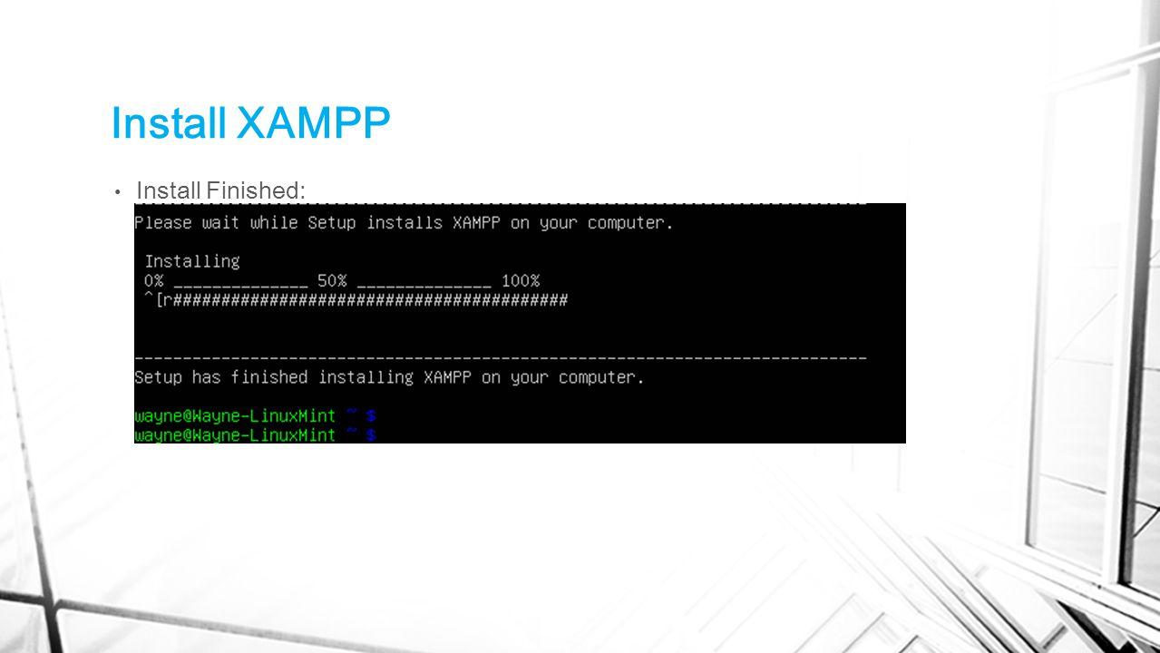 Install XAMPP Install Finished: