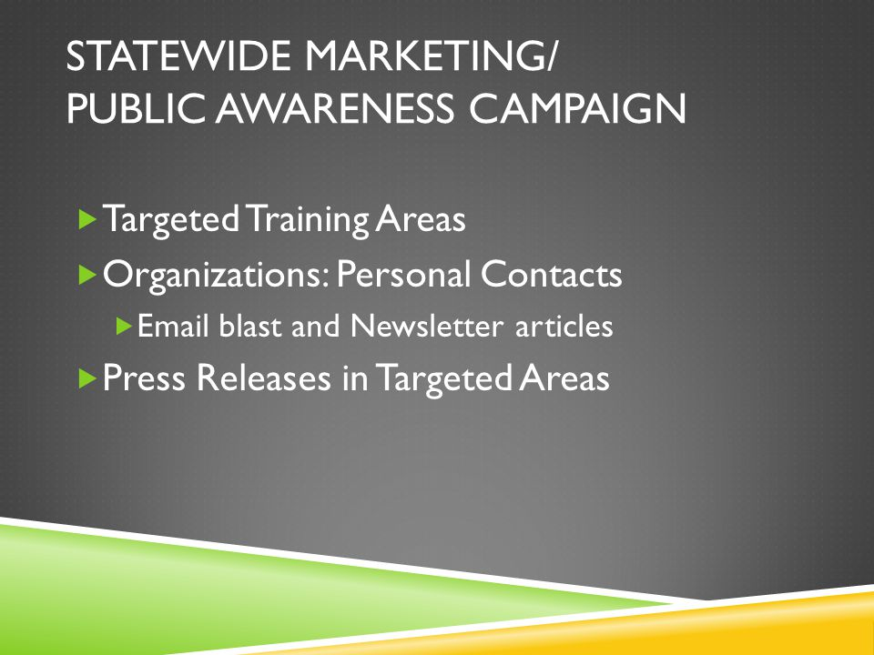 STATEWIDE MARKETING/ PUBLIC AWARENESS CAMPAIGN  Targeted Training Areas  Organizations: Personal Contacts  Email blast and Newsletter articles  Press Releases in Targeted Areas