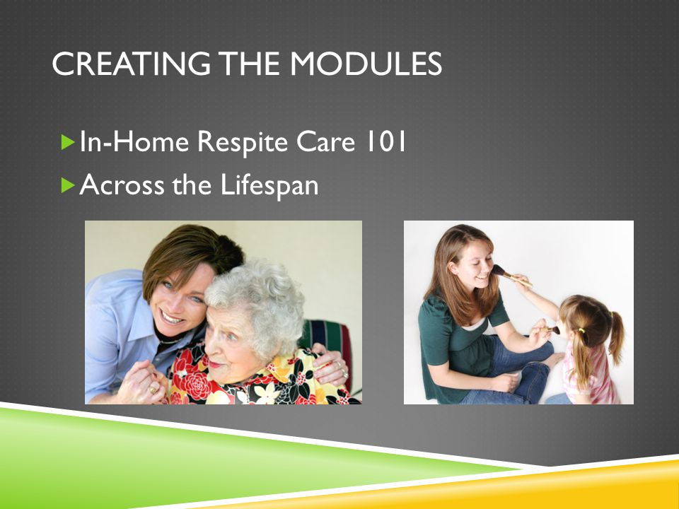 CREATING THE MODULES  In-Home Respite Care 101  Across the Lifespan