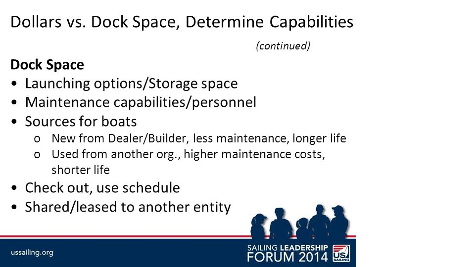 Dollars vs. Dock Space, Determine Capabilities (continued) Dock Space Launching options/Storage space Maintenance capabilities/personnel Sources for b