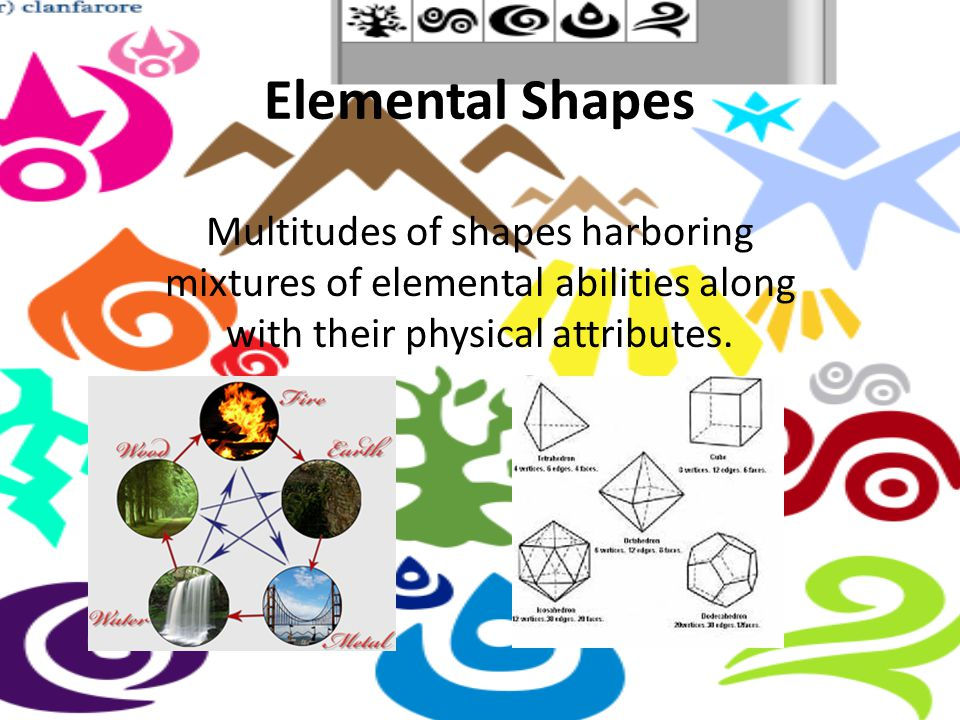 Elemental Shapes Multitudes of shapes harboring mixtures of elemental abilities along with their physical attributes.