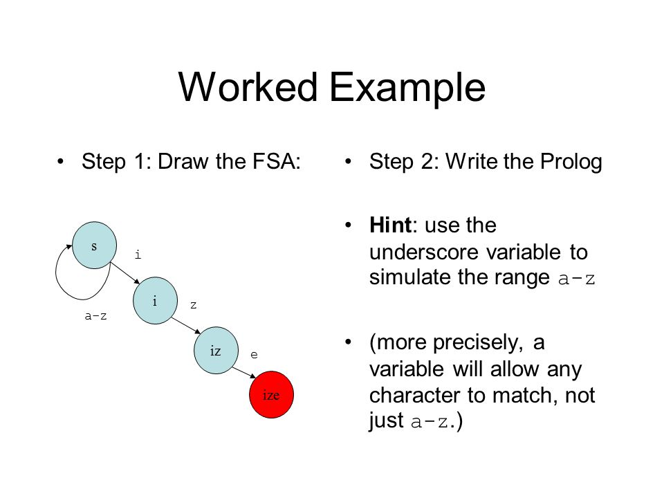 Worked Example Step 1: Draw the FSA:Step 2: Write the Prolog Hint: use the underscore variable to simulate the range a-z (more precisely, a variable will allow any character to match, not just a-z.) s i iz ize z i e a-z