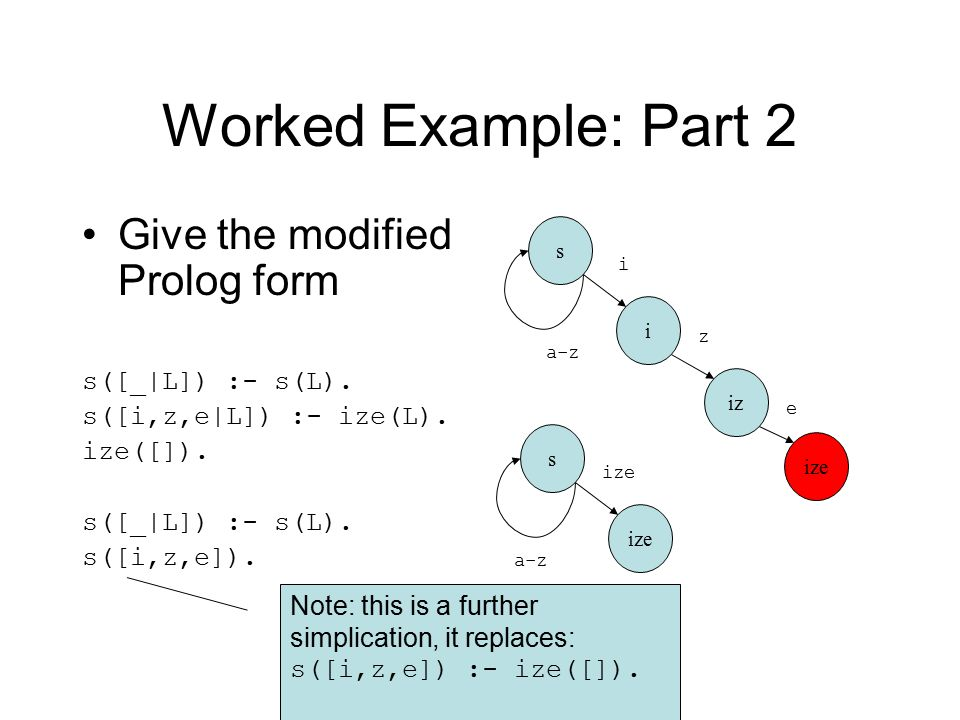 Worked Example: Part 2 Give the modified Prolog form s([_|L]) :- s(L).