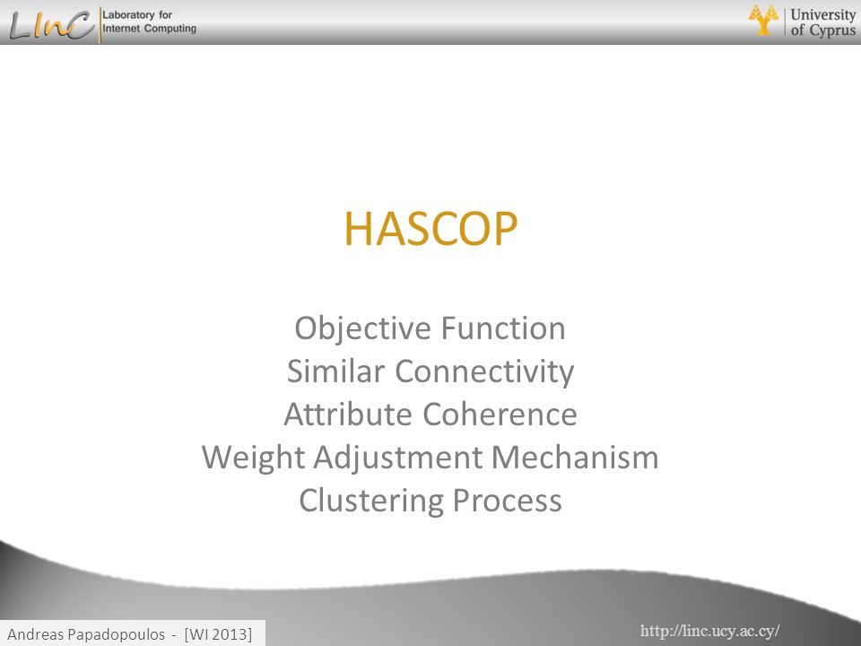 http://linc.ucy.ac.cy/ Andreas Papadopoulos - [WI 2013] HASCOP Objective Function Similar Connectivity Attribute Coherence Weight Adjustment Mechanism