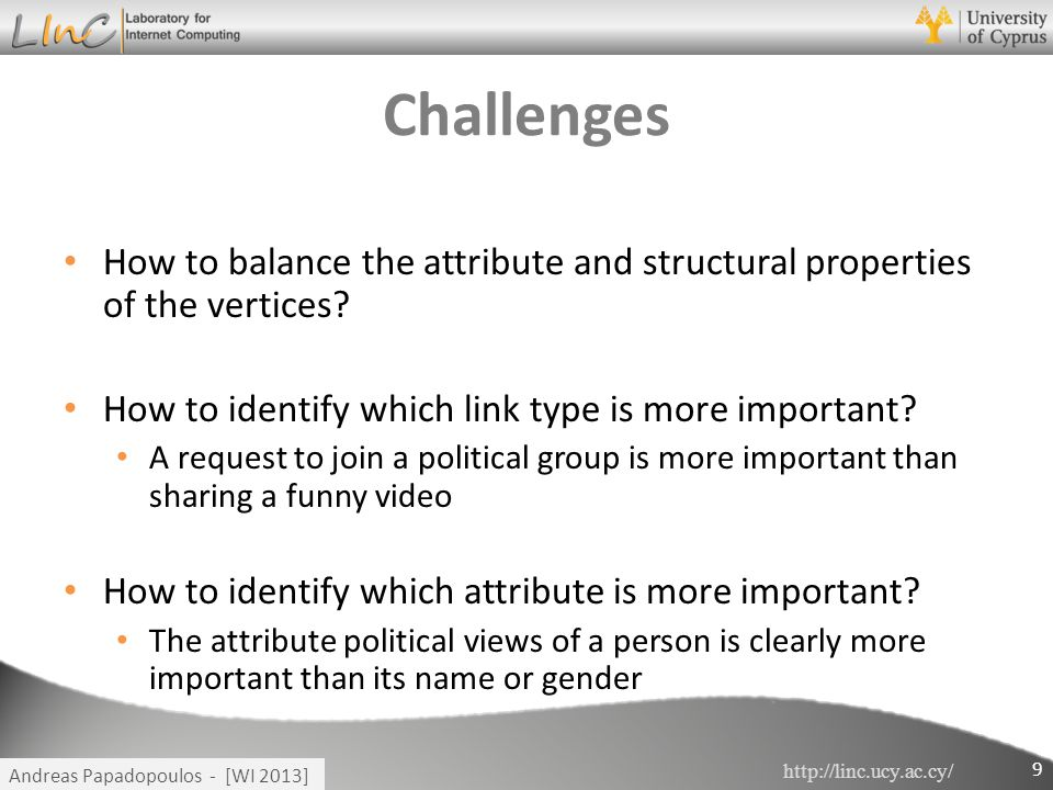 http://linc.ucy.ac.cy/ Andreas Papadopoulos - [WI 2013] Challenges How to balance the attribute and structural properties of the vertices? How to iden