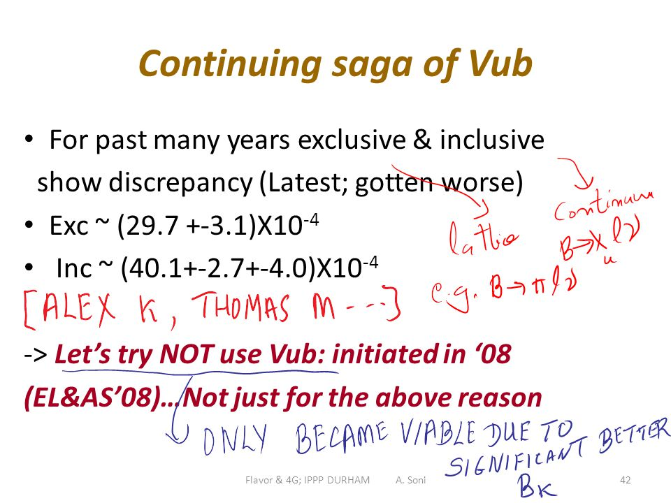Flavor & 4G; IPPP DURHAM A. Soni42 Continuing saga of Vub For past many years exclusive & inclusive show discrepancy (Latest; gotten worse) Exc ~ (29.