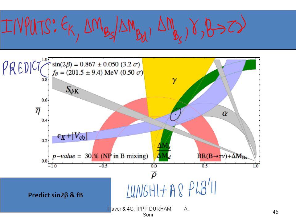 Predict sin2β & fB Flavor & 4G; IPPP DURHAM A. Soni 45