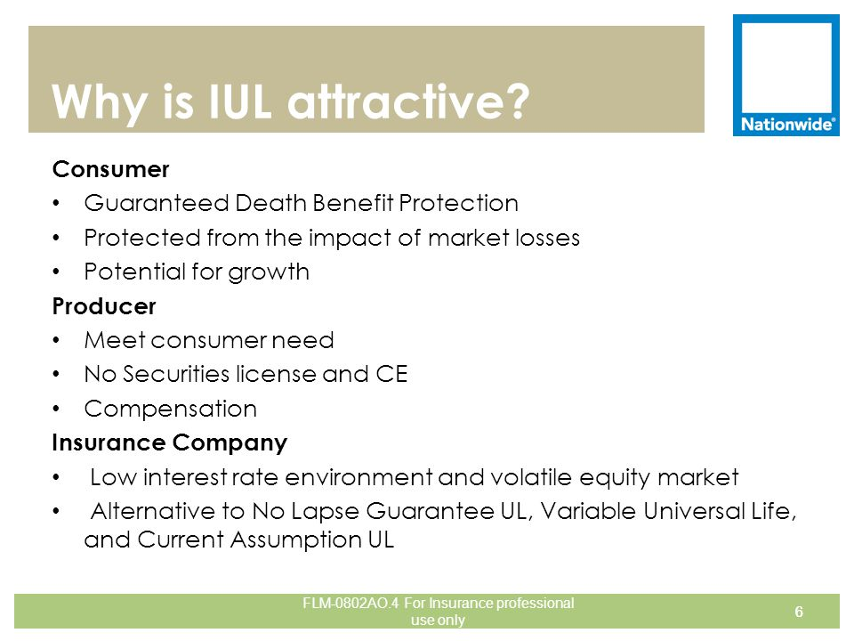 Quick Summary of Nationwide's IUL 27 One product to meet many consumer needs: Death Benefit Protection (low premium solves) Accumulation potential Guaranteed Coverage (optional EDBG rider) Long Term Care coverage (optional LTC rider) These riders may be known by different names in different states, may not be in every state and have an additional charge associated with them.