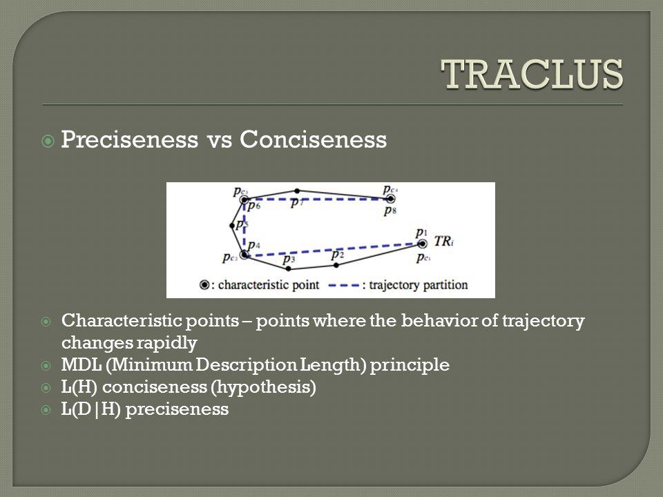  Preciseness vs Conciseness  Characteristic points – points where the behavior of trajectory changes rapidly  MDL (Minimum Description Length) prin