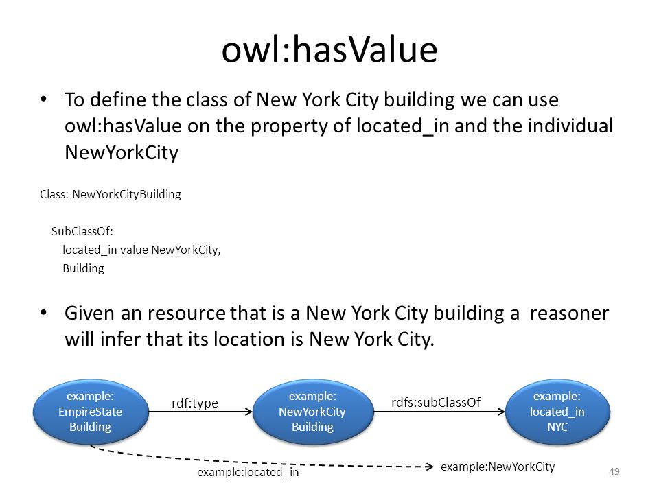 owl:hasValue To define the class of New York City building we can use owl:hasValue on the property of located_in and the individual NewYorkCity Class: NewYorkCityBuilding SubClassOf: located_in value NewYorkCity, Building Given an resource that is a New York City building a reasoner will infer that its location is New York City.