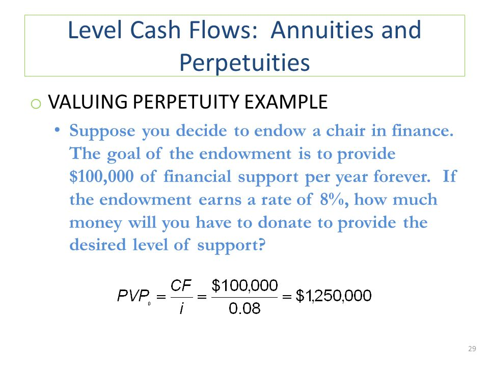 Level Cash Flows: Annuities and Perpetuities o VALUING PERPETUITY EXAMPLE Suppose you decide to endow a chair in finance.