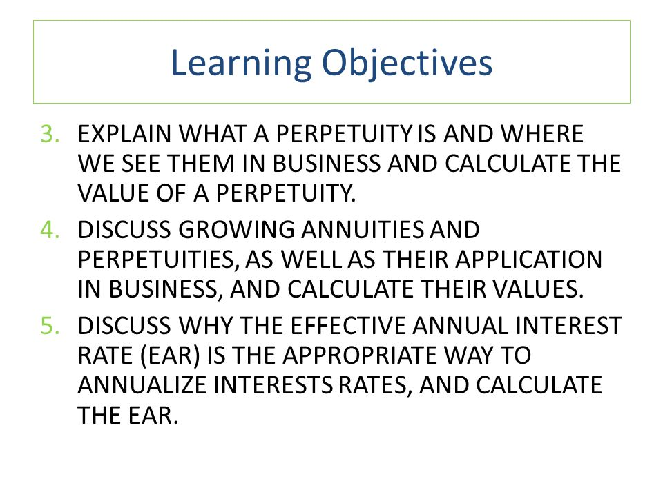 Level Cash Flows: Annuities and Perpetuities o CALCULATOR EXAMPLE Present Value of Annuity 15 Enter Answer NiPMTPVFV 382,0000 -5,154.19