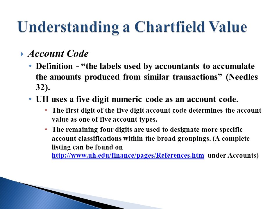  Account Code Definition - the labels used by accountants to accumulate the amounts produced from similar transactions (Needles 32).