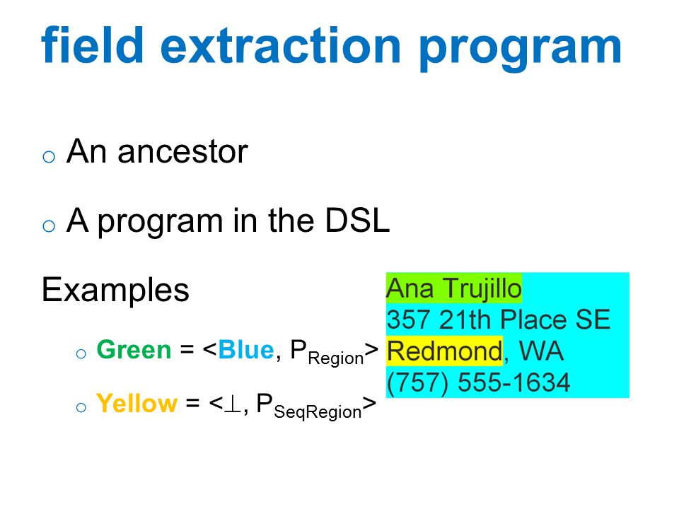 data extraction DSL o DSL is a tuple (G, N 1, N 2 ) o G : grammar defining extraction strategies o N 1 : top-level SeqRegion nonterminal o N 2 : top-level Region nonterminal o Each non-terminal has a learn method
