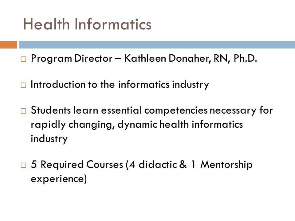 Health Informatics  Program Director – Kathleen Donaher, RN, Ph.D.