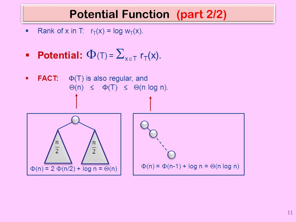 Potential Function (part 2/2)  Rank of x in T: r T (x) = log w T (x).  Potential:  (T) =  x  T r T (x).  FACT:  (T) is also regular, and  (n)
