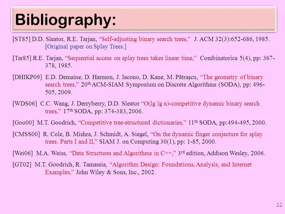 Bibliography: [ST85] D.D. Sleator, R.E. Tarjan, Self-adjusting binary search trees, J.