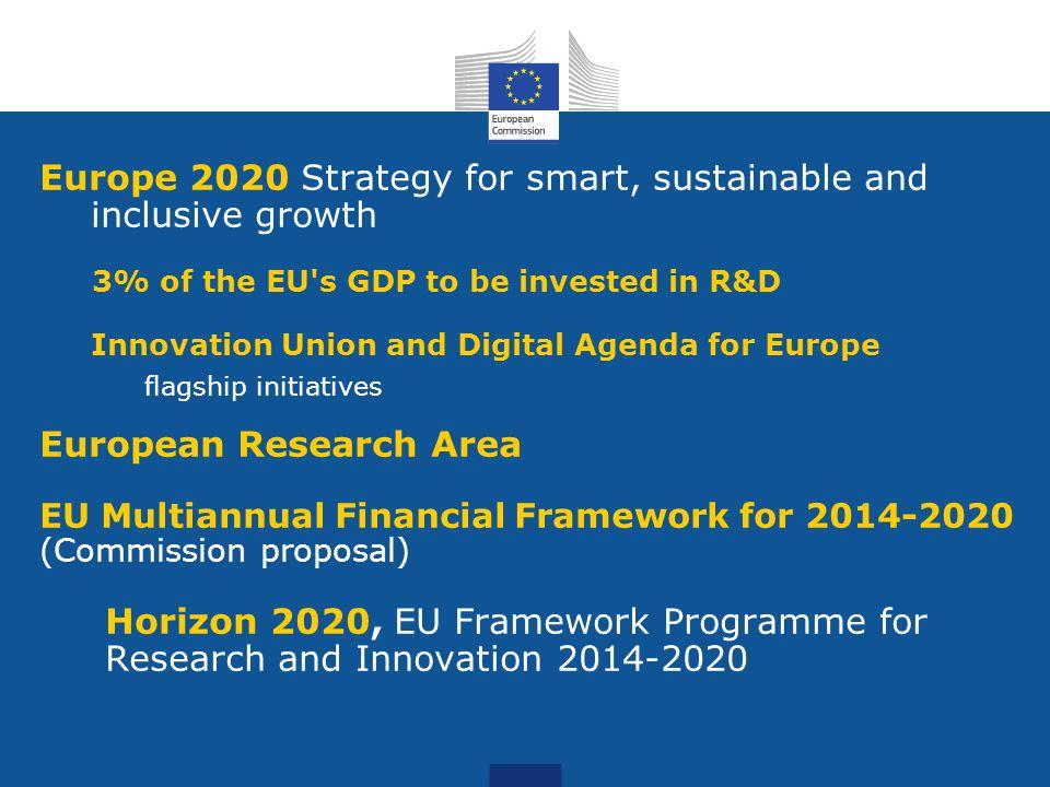 Horizon 2020, three priorities: 1.Excellent science 2.Industrial leadership 3.Societal challenges