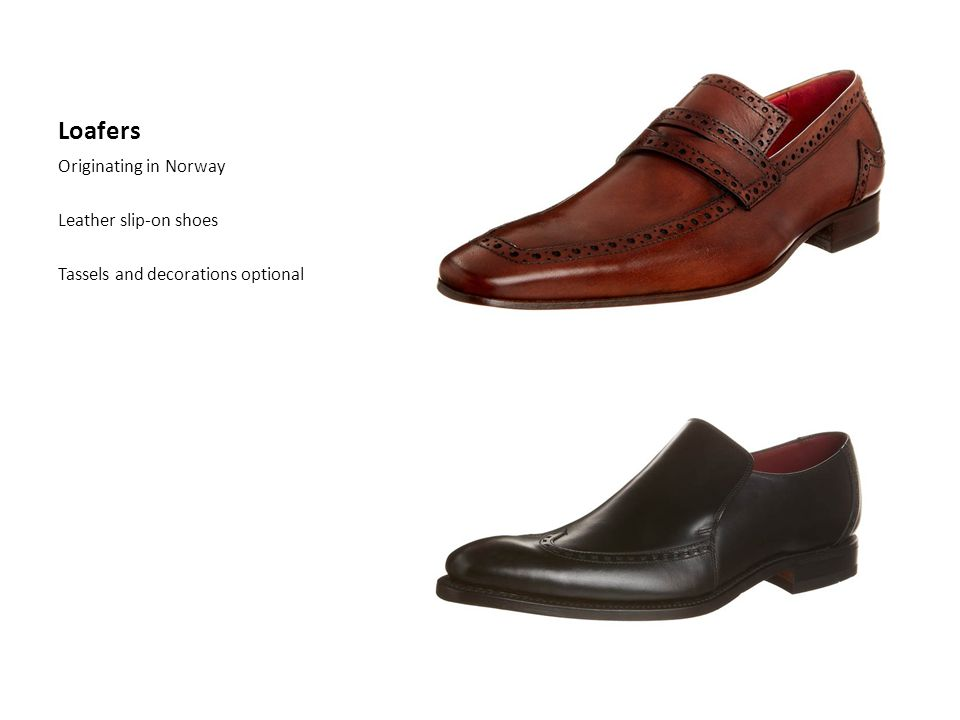 Loafers Originating in Norway Leather slip-on shoes Tassels and decorations optional