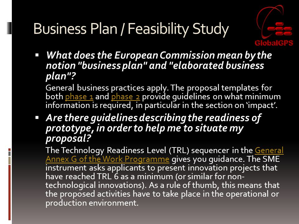 Business Plan / Feasibility Study  What does the European Commission mean by the notion business plan and elaborated business plan .