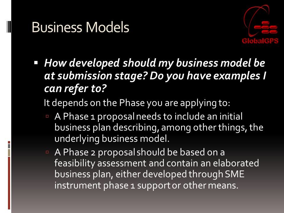 Business Models  How developed should my business model be at submission stage.