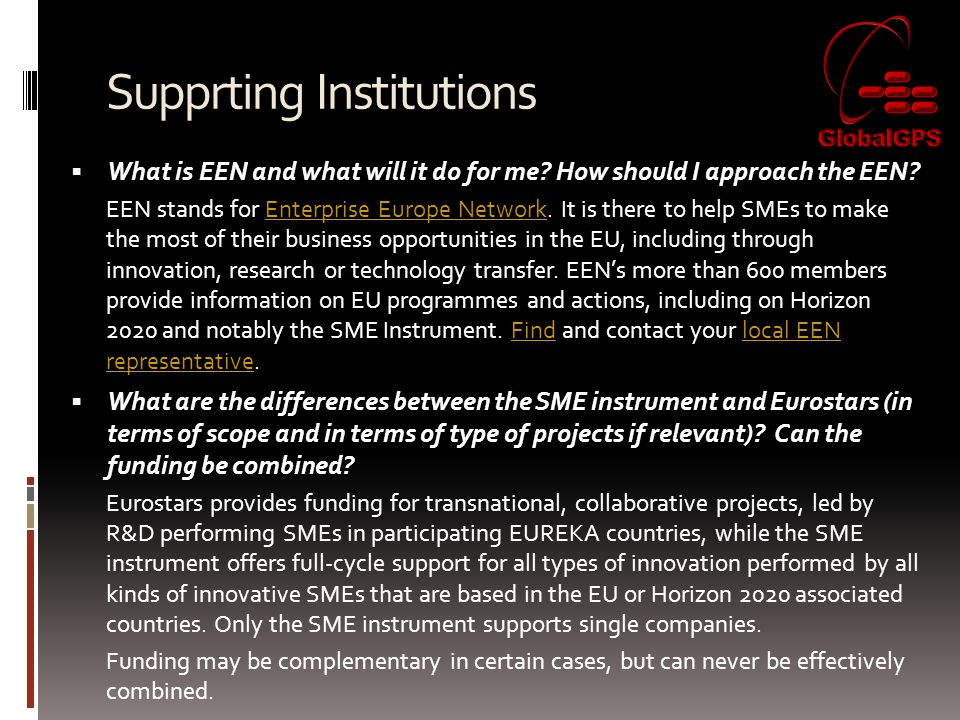 Supprting Institutions  What is EEN and what will it do for me.