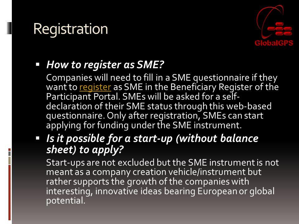Registration  How to register as SME.