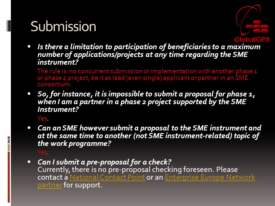 Submission  Is there a limitation to participation of beneficiaries to a maximum number of applications/projects at any time regarding the SME instrument.