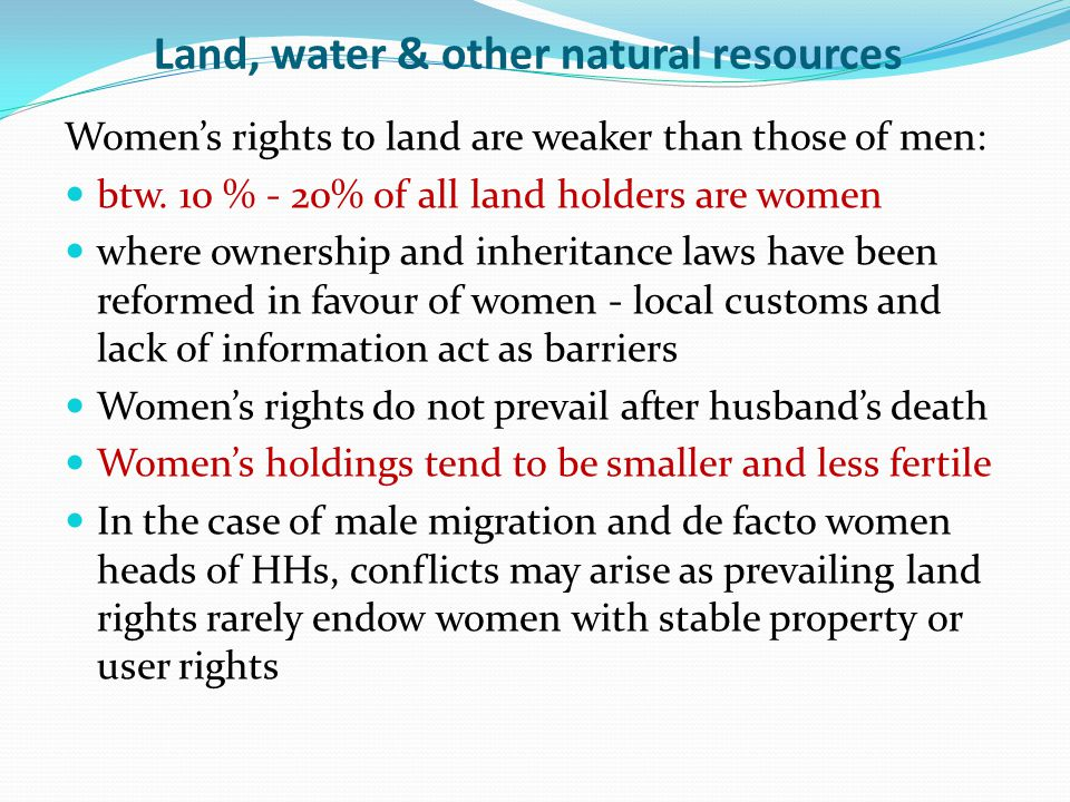 Land, water & other natural resources Women's rights to land are weaker than those of men: btw.