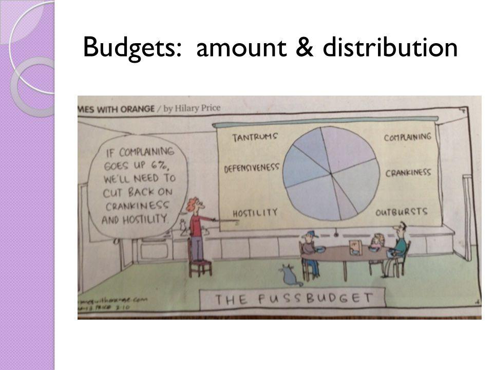 Budgets: amount & distribution