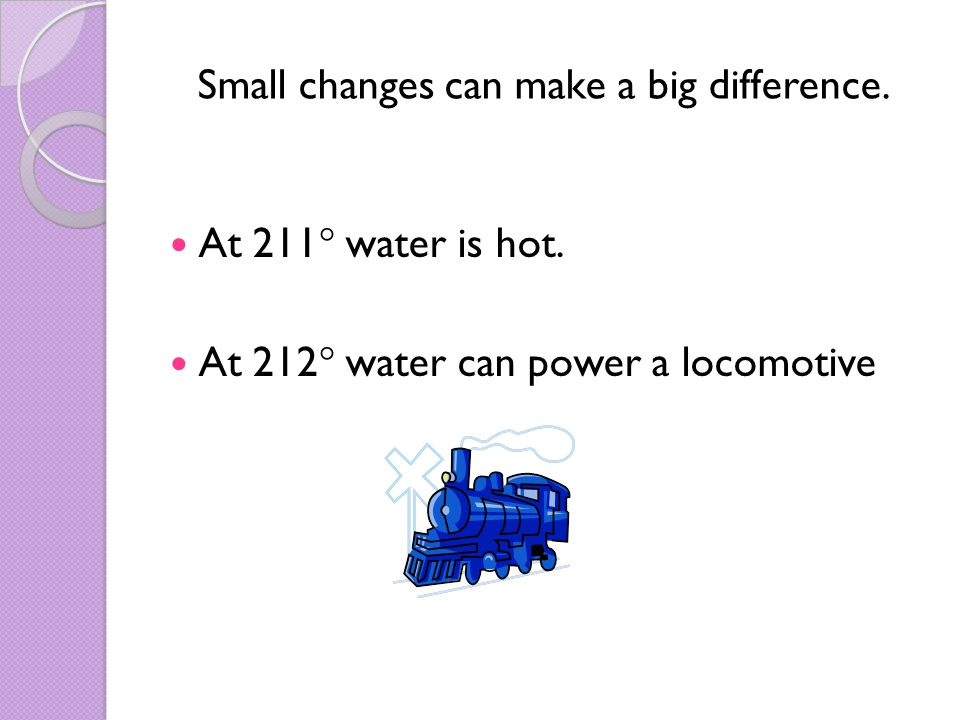 Small changes can make a big difference. At 211  water is hot.