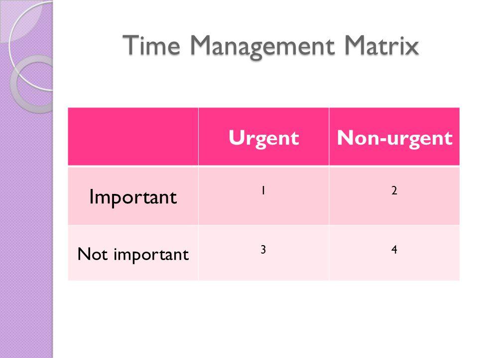 Time Management Matrix UrgentNon-urgent Important 12 Not important 34
