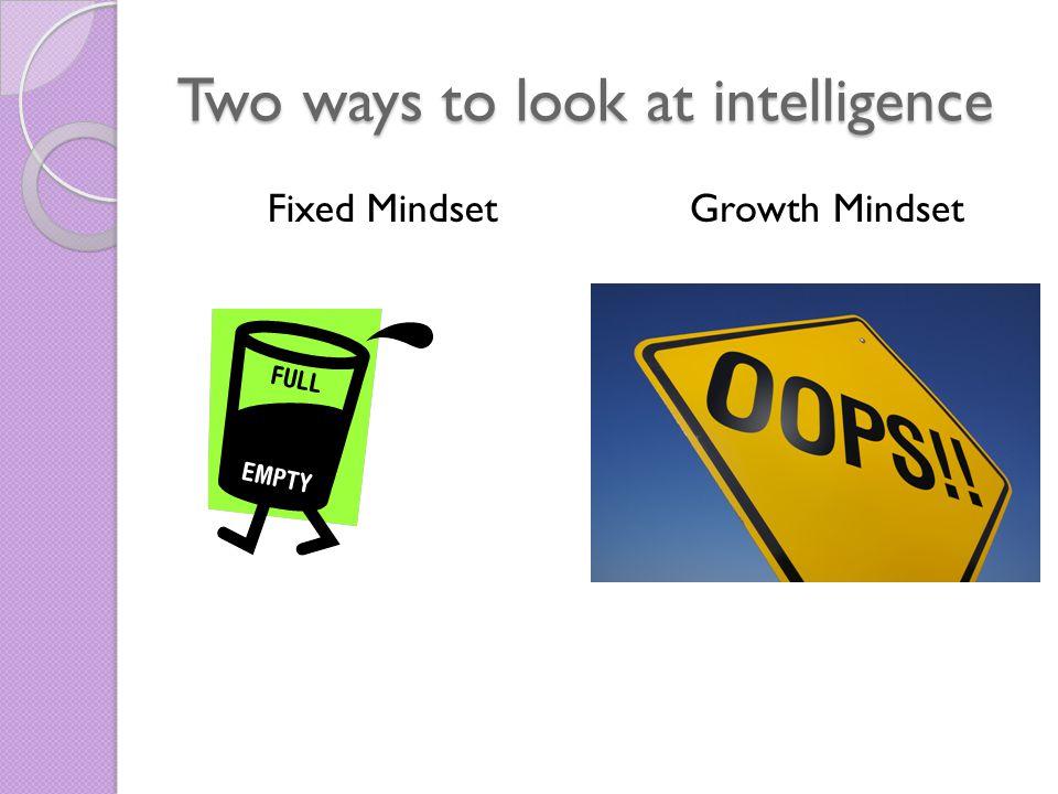Two ways to look at intelligence Fixed MindsetGrowth Mindset
