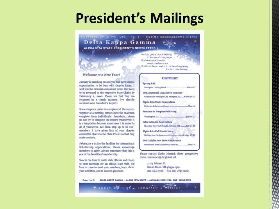 President's Mailings