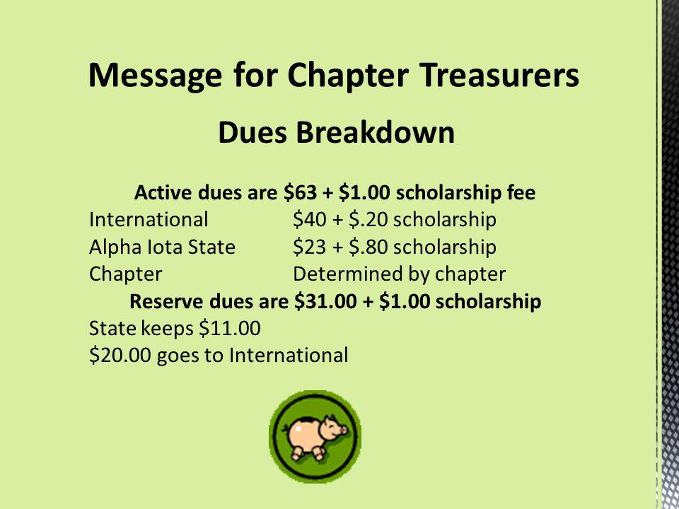Dues Breakdown Active dues are $63 + $1.00 scholarship fee International $40 + $.20 scholarship Alpha Iota State$23 + $.80 scholarship ChapterDetermin