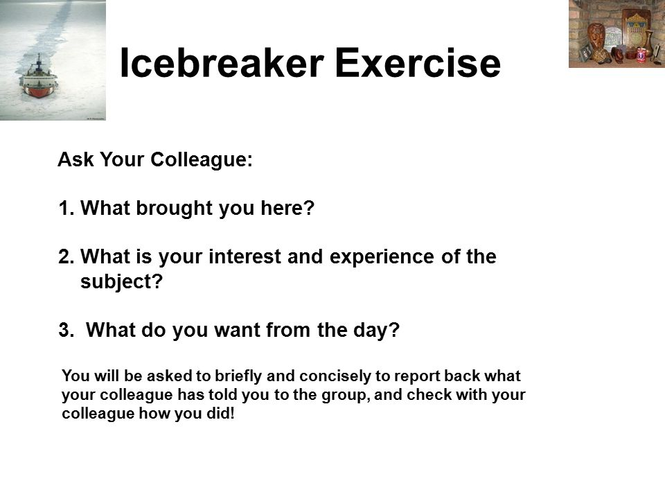 Icebreaker Exercise Ask Your Colleague: 1. What brought you here.