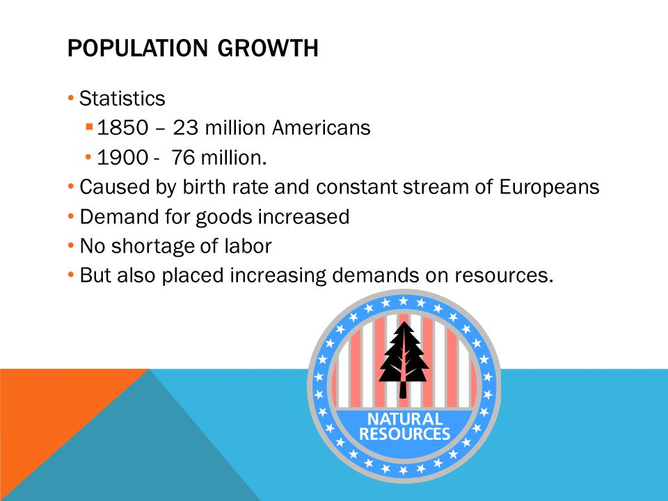 POPULATION GROWTH Statistics  1850 – 23 million Americans 1900 - 76 million. Caused by birth rate and constant stream of Europeans Demand for goods i