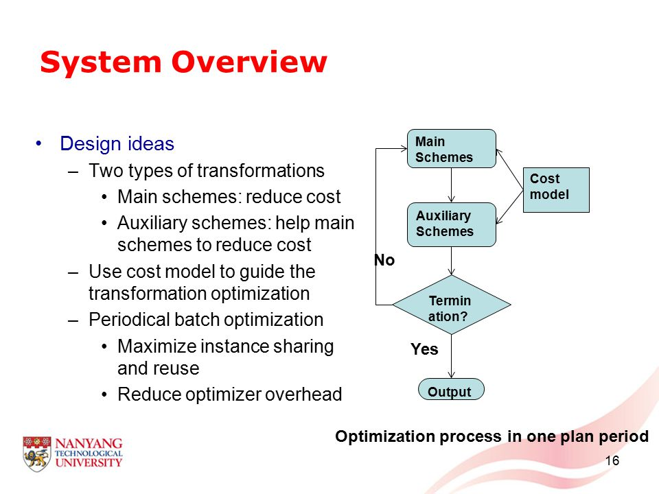 System Overview Design ideas –Two types of transformations Main schemes: reduce cost Auxiliary schemes: help main schemes to reduce cost –Use cost model to guide the transformation optimization –Periodical batch optimization Maximize instance sharing and reuse Reduce optimizer overhead 16 Main Schemes Auxiliary Schemes Termin ation.
