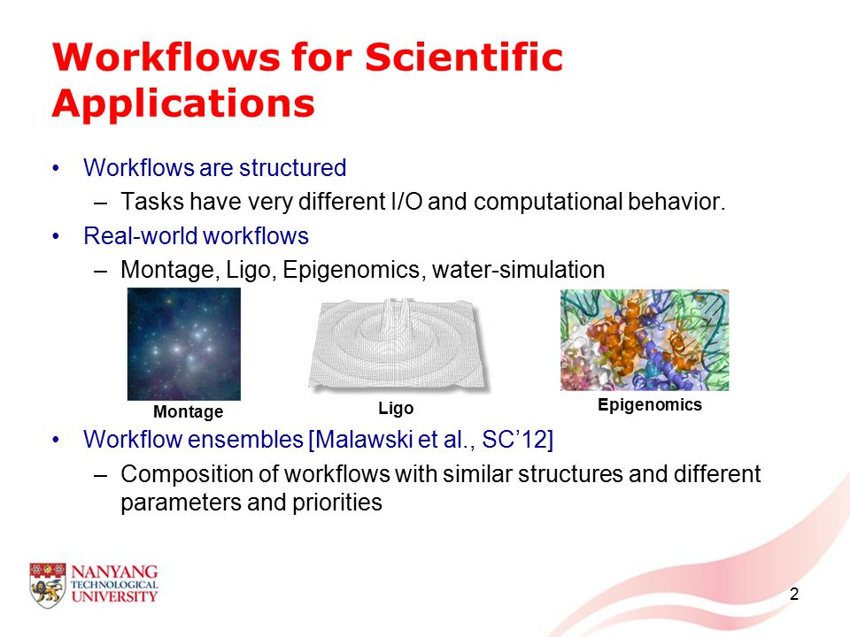 Workflows for Scientific Applications Workflows are structured –Tasks have very different I/O and computational behavior. Real-world workflows –Montag