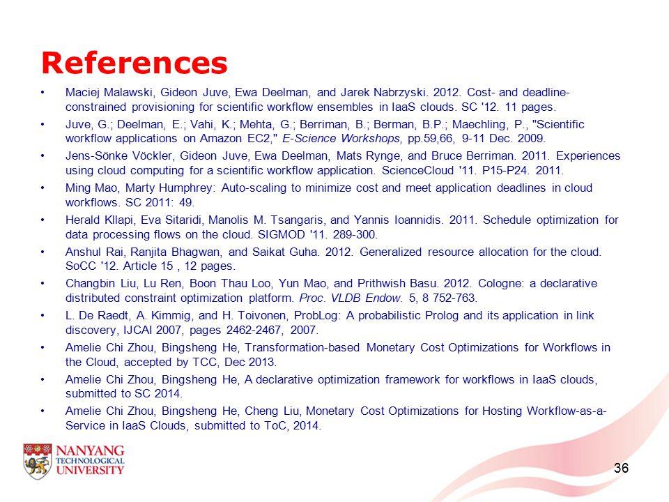 References Maciej Malawski, Gideon Juve, Ewa Deelman, and Jarek Nabrzyski.